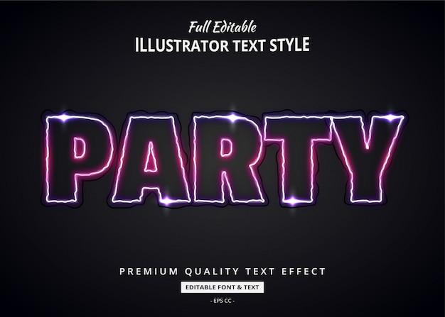 Party neon efekt stylu tekstu 3d