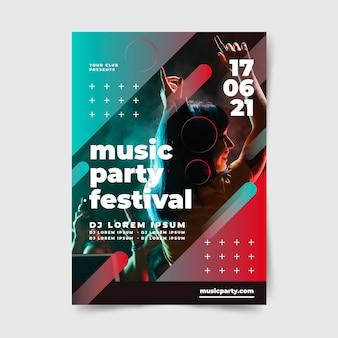 Party plakat festiwal muzyki ludzi tańczących
