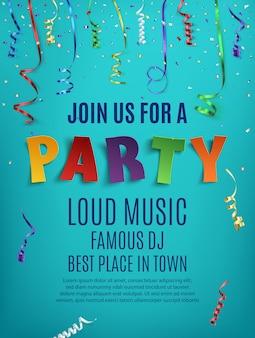 Party plakat szablon z konfetti i kolorowymi wstążkami na niebieskim tle.