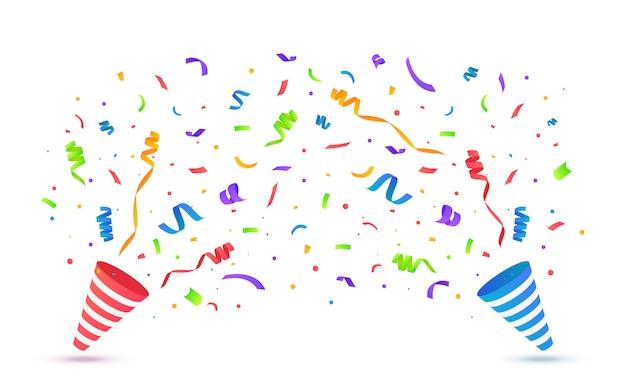 Party popper z konfetti na białym tle