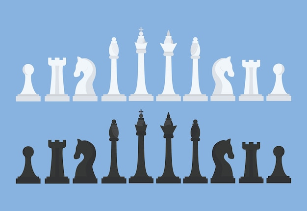 Partyjka szachów. król, królowa, goniec, skoczek, wieża i pionek. czarno-białe figury szachowe. ilustracja