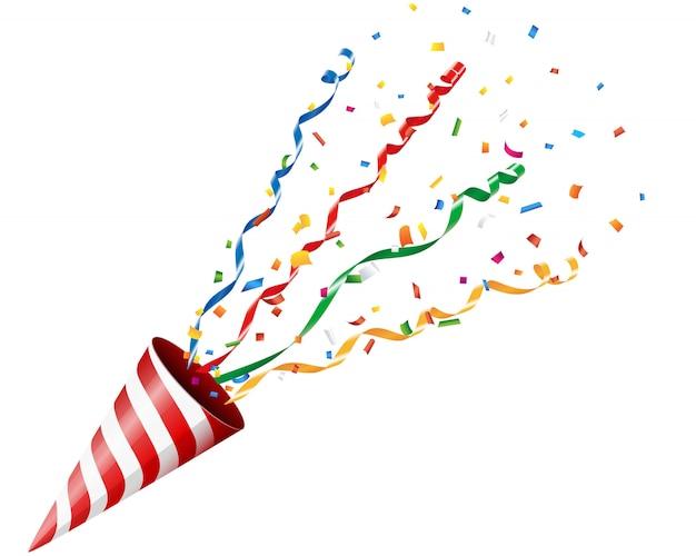 Partyjny krakers z confetti i streamer na białym tle