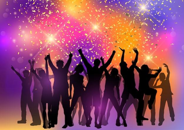 Partyjny tłum na abstrakcjonistycznym tle z confetti