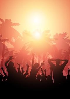 Partyjny tłum na letnim tle