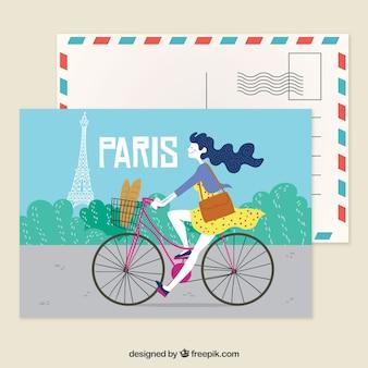 Paryż pocztówka szablon z ręcznie rysowane stylu