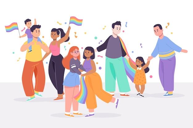 Pary i rodziny świętują dzień dumy