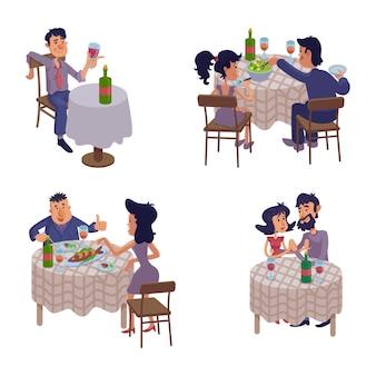Pary jedzą razem płaskie ilustracje kreskówka zestaw. kobieta i mężczyzna na romantyczną randkę. pijany facet przy stole. gotowe do użycia szablony komiksów 2d do reklam, animacji, druku