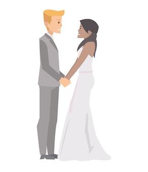 Pary małżeńskiej mienia ręki w ślubnej ceremonii