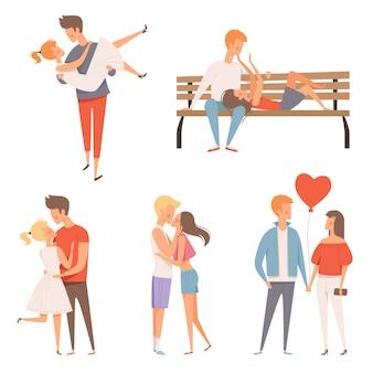 Pary miłości. flirtowanie i całowanie romantycznych kochanków męskich i żeńskich postaci w dzień walentynek 14 lutego maskotki z kreskówek