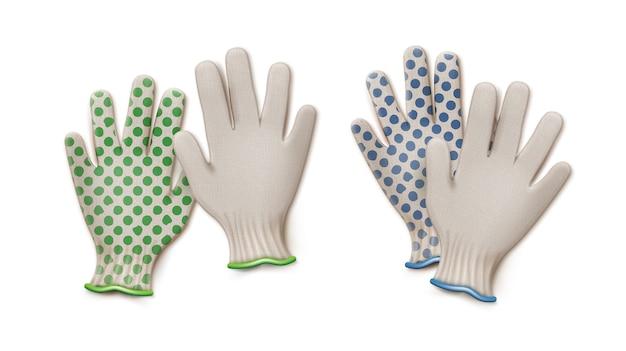 Pary rękawiczek ogrodniczych zielony i niebieski na białym tle