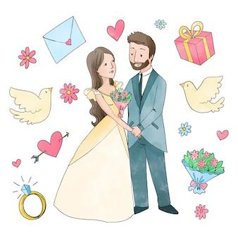 Pary ślubne akwarela