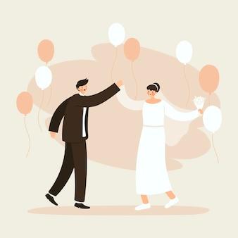 Pary ślubne w płaskiej konstrukcji