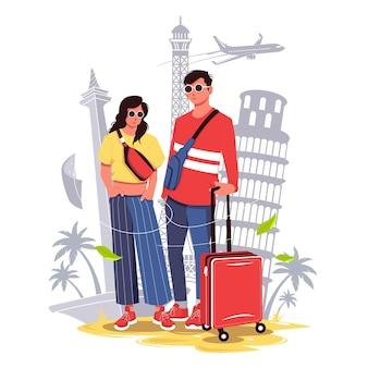 Pary turystyczne gotowe do ilustracji wektorowych wakacje