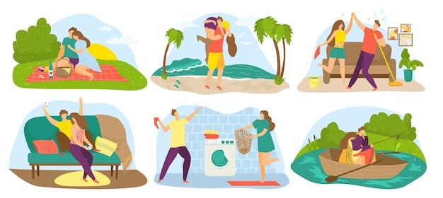 Pary zakochanych, zestaw ilustracji data. kochający mężczyzna i kobieta przytulają się, obejmują i całują, trzymają się za rękę, na pikniku, w łodzi, oświadczyny, spacer. romantyczny związek, kochankowie.
