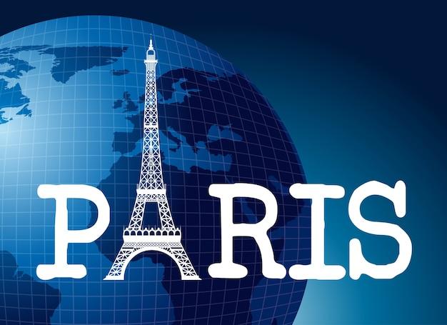 Paryska ikona nad światowym tłem, wektorowa ilustracja