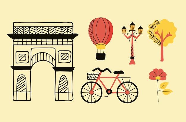 Paryski kraj sześć ikon