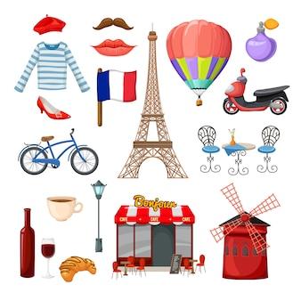 Paryż elementy i obiekty zestaw