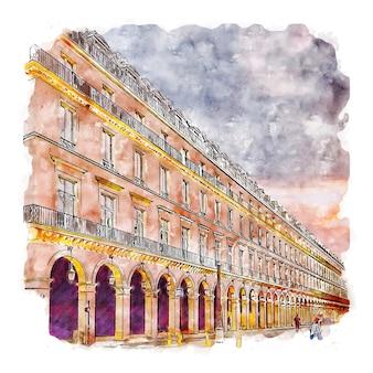 Paryż francja akwarela szkic ręcznie rysowane ilustracja