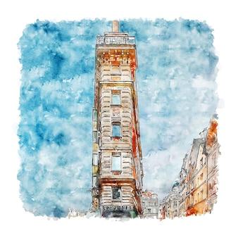 Paryż francja szkic akwarela ręcznie rysowane ilustracja