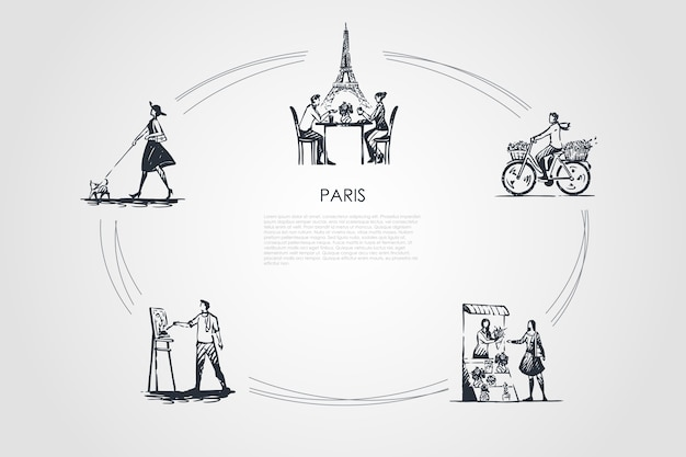 Paryż koncepcja zestaw ilustracji