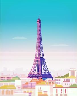 Paryż. krajobraz miasta z wieżą eiffla.