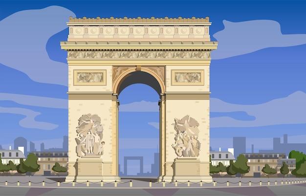 Paryż łuk triumfalny na polach elizejskich vector