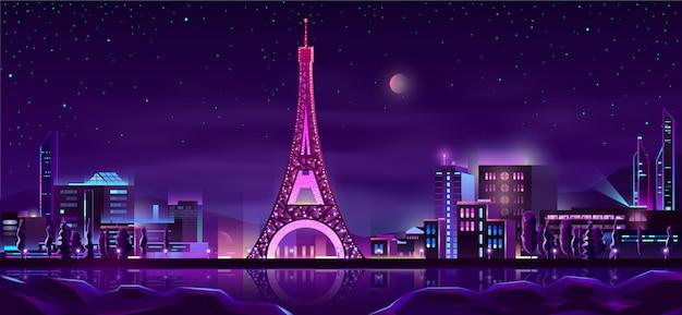 Paryż nocy ulicy tło kreskówka