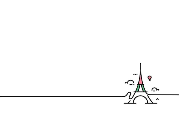 Paryż, wieża eiffla, paryż kreskówka, pocztówka, ilustracja wektorowa sztuki linii