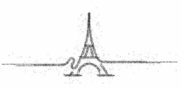 Paryż, wieża eiffla, sztuka kreskówki paryż, pocztówka, ilustracja wektorowa sztuki cząstek
