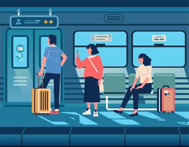 Pasażer czekający na pociąg przyjechał do poczekalni dworzec, ludzie podróżują metrem