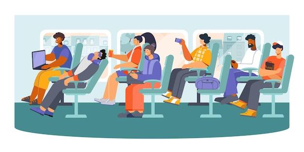 Pasażerowie autobusów dalekobieżnych transportu publicznego drzemią, robiąc zdjęcia, wysyłając wiadomości z telefonu, ilustracja płaskiej kompozycji