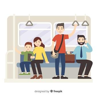Pasażerowie korzystający z metra w stylu mieszkania