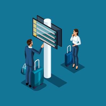 Pasażerowie lotniska oglądają rozkład lotów i plan kontroli paszportowej, ilustracja