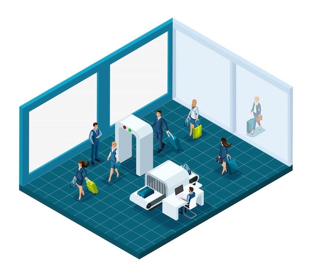Pasażerowie lotniska z bagażem, zdana kontrola rzeczy przy wejściu do budynku, pracownicy lotniska pracują. ilustracja emocjonalna