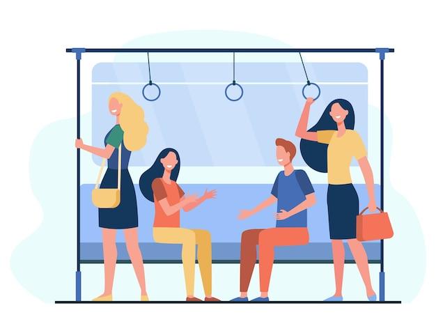 Pasażerowie podróżujący pociągiem metra. miasto ludzi siedzących i stojących w przewozie. ilustracja wektorowa do metra, transportu, koncepcji dojazdów do pracy