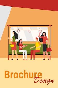 Pasażerowie podróżujący pociągiem metra. miasto ludzi siedzących i stojących w wagonie. ilustracja wektorowa do metra, transportu, koncepcji dojazdów do pracy