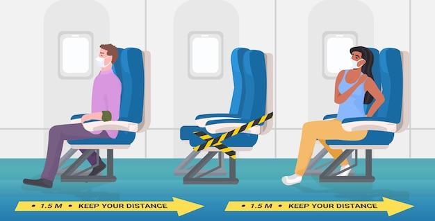 Pasażerowie samolotów w maskach ochronnych utrzymujący dystans, aby zapobiec koronawirusowi w koncepcji poziomego dystansowania społecznego transportu publicznego