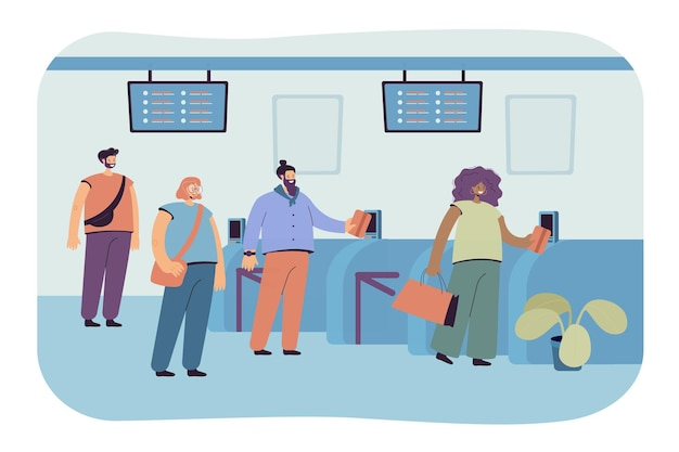 Pasażerowie stojący z biletami w kolejce przy automatycznej bramce na białym tle płaska ilustracja