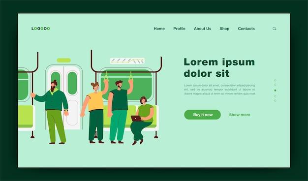 Pasażerowie w metrze lub wnętrzu wagonu podziemnego. płaska ilustracja