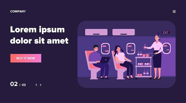 Pasażerowie w podróży lotniczej czekają na ilustrację napoju. podróżujący w klasie biznes siedzący w pobliżu okna samolotu. osoby podróżujące samolotem. koncepcja linii lotniczych, turystyki i podróży