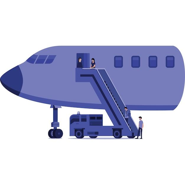 Pasażerowie wsiadają na ilustrację samolotu
