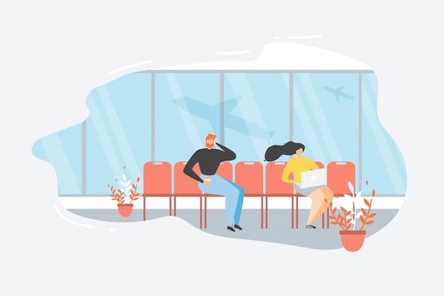 Pasażerski czekanie lot w lotniskowym płaskim wektorze
