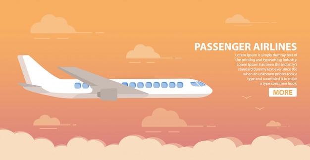 Pasażerskie linie lotnicze. chmurnieje zmierzchu nieba samolot. dżetowy samolot. lotniczy samolot.