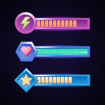 Pasek energii, zdrowia i gwiazdek w różnych ramkach dla elementów interfejsu gry