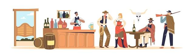 Pasek koncepcji dzikiego zachodu z ludźmi, którzy są kowbojami ubrani w zachodnie ubrania, piją i komunikują się. dziki zachód tawerna retro pub. ilustracja kreskówka płaski wektor