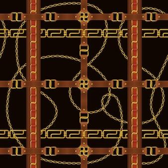 Pasek ozdobny realistyczny czarny wzór z ilustracją klamry