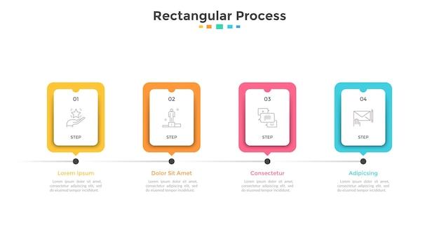 Pasek postępu lub oś czasu z czterema papierowymi białymi prostokątnymi elementami lub kartami ułożonymi w poziomym rzędzie. koncepcja 4 etapów rozwoju projektu. szablon projektu plansza. ilustracja wektorowa