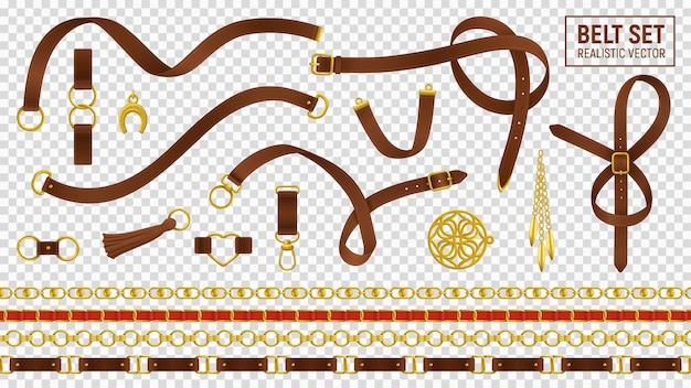 Pasek realistyczny przezroczysty zestaw z klamrą i łańcuszkową izolowaną ścieżką przycinającą