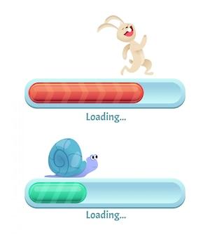 Pasek szybkiego pobierania. biznes komputerowy internet typu szybki królik i powolny ślimak w dynamicznych pozach interfejsu użytkownika kreskówek