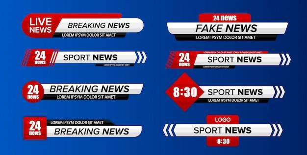 Pasek wiadomości telewizyjnych. dolna trzecia telewizja news bary ustaw wektor. baner tytuł mediów telewizyjnych.